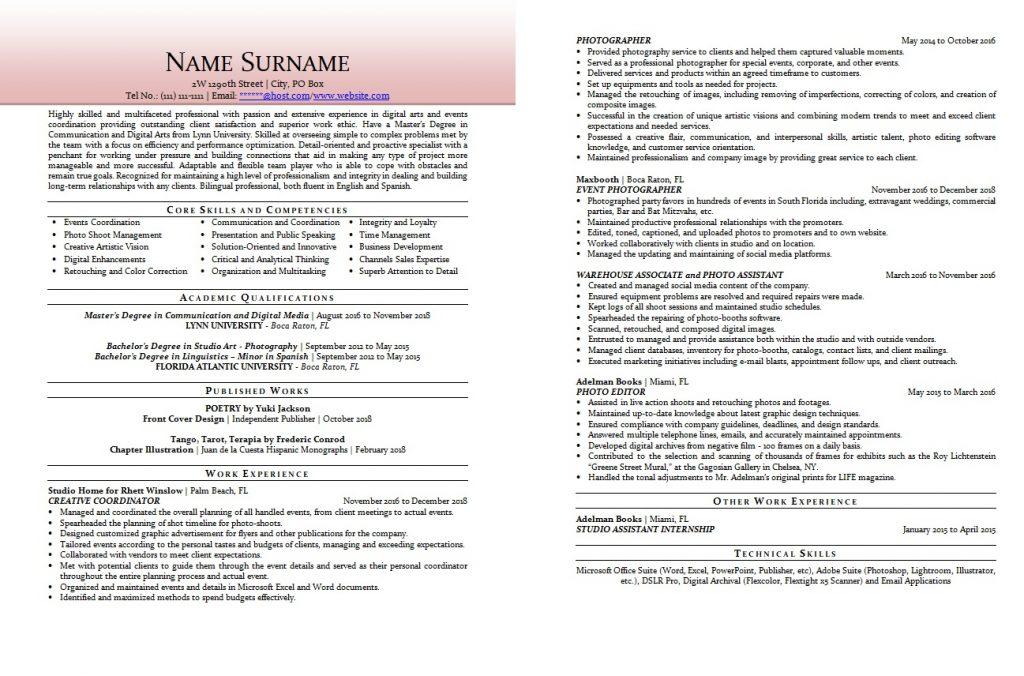 Photograph resume sample