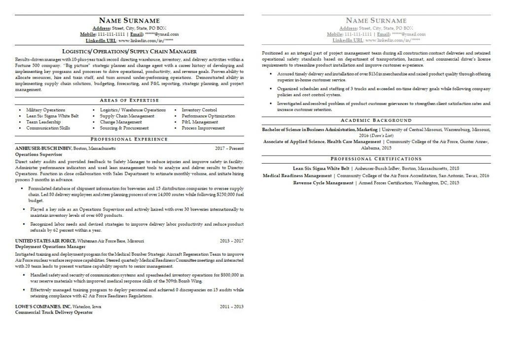 logistics resume sample