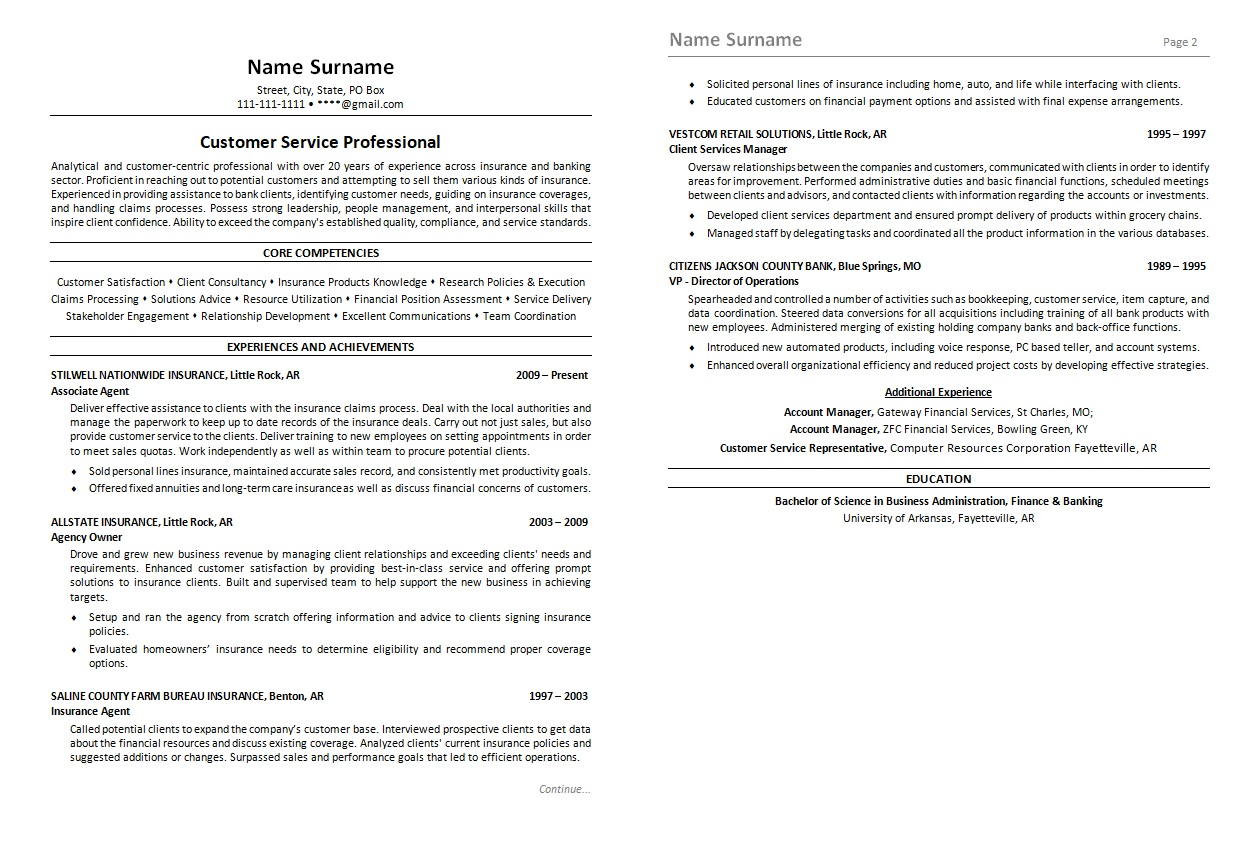 resume-Customer-service