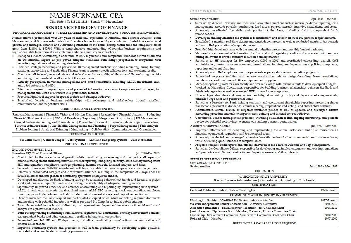 resume financial manager