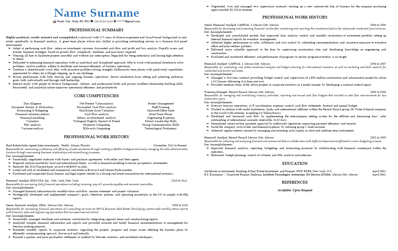 real estate resume